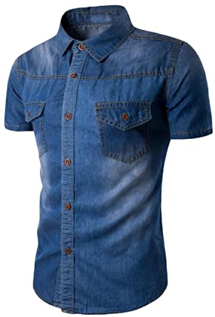 28360019010c Tootless-Men Solid Casual Short-Sleeve Western Denim Shirt at Amazon Men's  Clothing store: