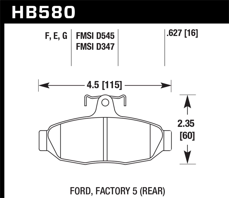 Hawk Performance HB580F.627 HPS Performance Ceramic Brake Pad
