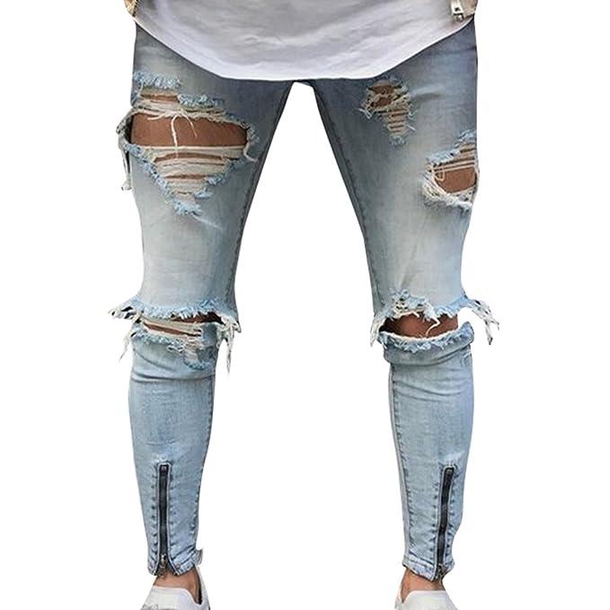 Yuanu Hombre Personalidad Lavado Rotos Mendigo Jeans ...