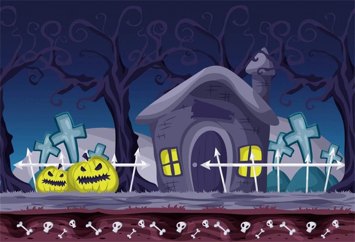 Yeele 6x4ft Halloween Theme Photography Backdrop Creepy Pumpkin in Night Background Magic Halloween Party Decor Kids Adult Cartoon Acting Show Photoshoot Booth Props