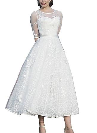 Abaowedding Women\'s A-Line Lace Half Sleeve Tea Length Wedding ...
