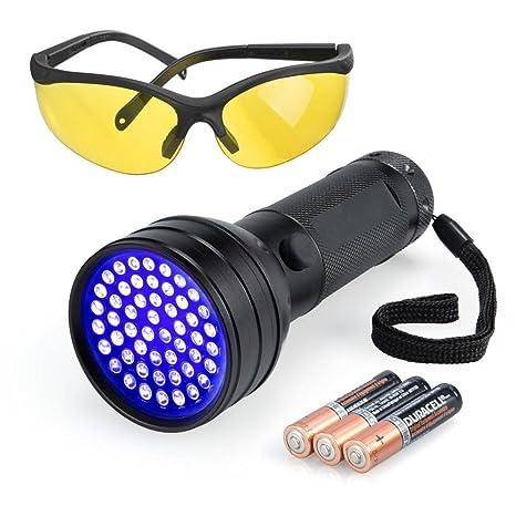 Linterna UV negro Luces Ultravilot Detector de orina para perros UV gafas de sol mascotas Detector. Pasa el ...