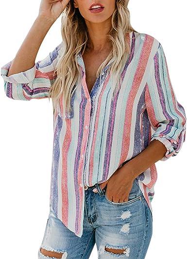 Minetom Mujer Lino Blusa Moda Rayas de Colores Camisa Otoño Elegante Manga Larga Botones Camiseta Tops Suelto T-Shirt: Amazon.es: Ropa y accesorios