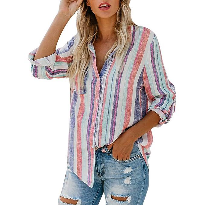 330c289c545 Minetom Mujer Lino Blusa Moda Rayas de Colores Camisa Otoño Elegante Manga  Larga Botones Camiseta Tops Suelto T-Shirt  Amazon.es  Ropa y accesorios