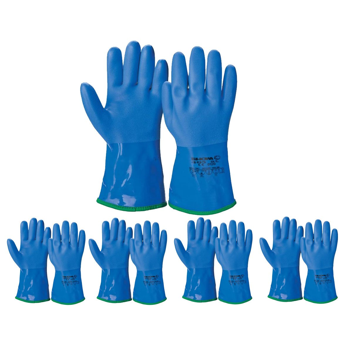 Atlas ATL495 Showa PVC Dipped Insulated Protective X-Large Work Gloves, 12-Pairs