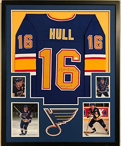 8032524a2 Image Unavailable. Image not available for. Color: Framed Brett Hull  Autographed Signed Inscribed St. Louis Blues Jersey - JSA Authentication