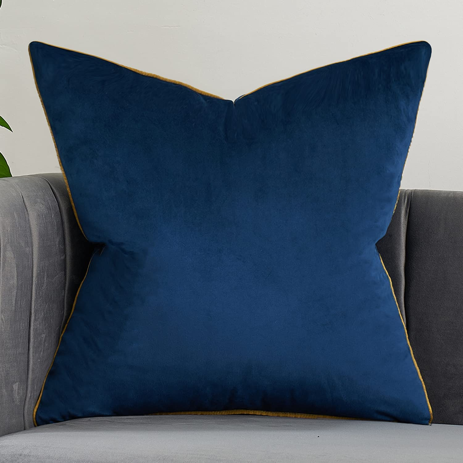 Avigers 18 x 18 Inches Navy Blue Solid Cushion Case Luxury European Throw Pillow Cover Decorative Pillow for Couch Living Room Bedroom Car