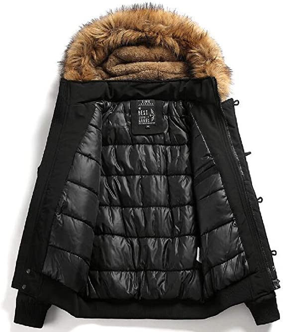 Fubotevic Men Warm Plus Size Winter Faux Fur Hooded Fleece Quilted Jacket Coat Outerwear