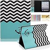 iPad Case, iPad 2/3/4 Case, Dteck(TM) Cartoon Cute PU Leather [Kickstand] Flip Case with Cards Slots for Apple iPad 4 with Retina Display & iPad 2 & iPad 3 (01 Chevron Anchor)