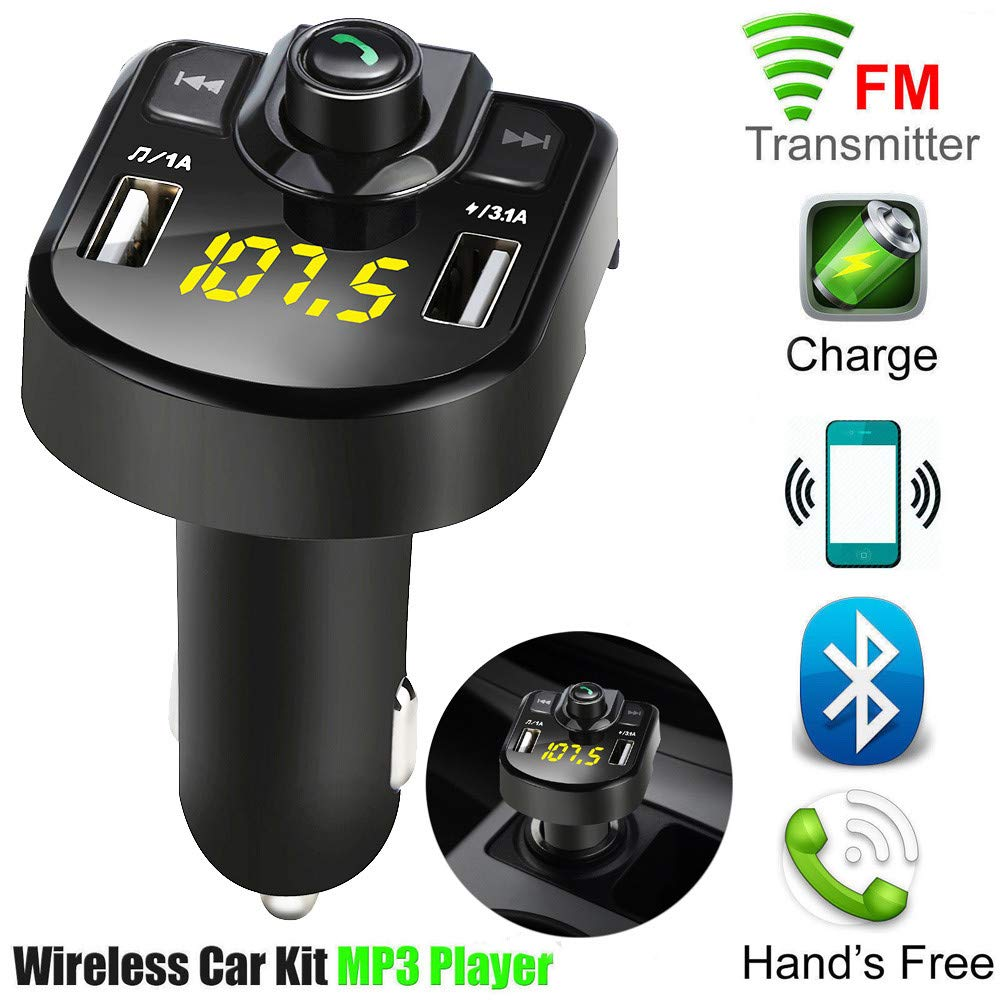 Lljin Bluetooth Car FM Transmitter Wireless Radio Adapter USB Charger Mp3 Player