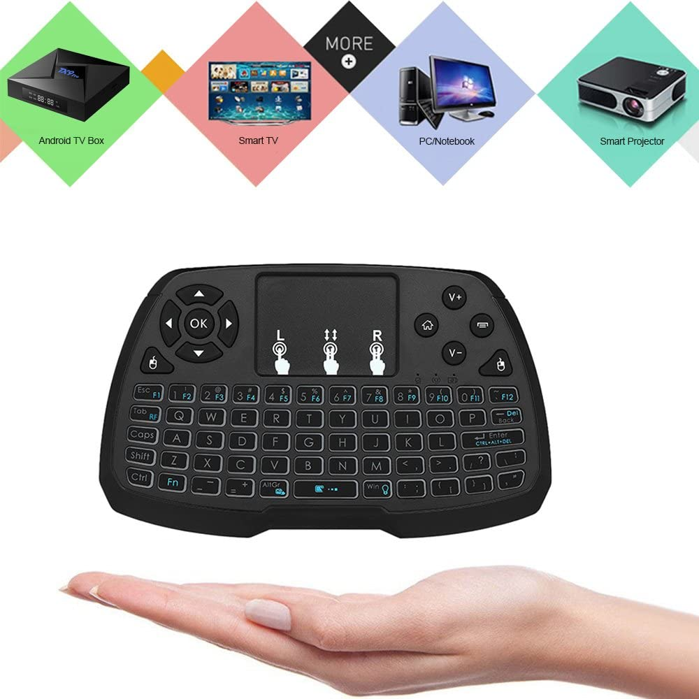 Calvas Spanish Version Backlit 2.4GHz Wireless Keyboard Touchpad Mouse Handheld Remote Control 4 Backlight for TV BOX Smart PC Notebook Color: English