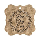 Darling Souvenir Custom Best Day Ever Wedding Party Tags Leaf Wreath Hang Tags-Burlap-50 Tags