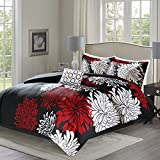 Comfort Spaces – Enya Comforter Set - 5 Piece – Black, Red – Floral Printed – King Size, Includes 1 Comforter, 2 Shams, 1 Decorative Pillow, 1 Bed Skirt