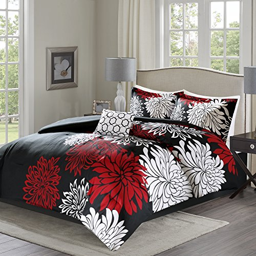 Comfort Spaces – Enya Comforter Set - 5 Piece – Black, Red – Floral Printed – Full/Queen size, includes 1 Comforter, 2 Shams, 1 Decorative Pillow, 1 Bed Skirt (White Red Bedding And)