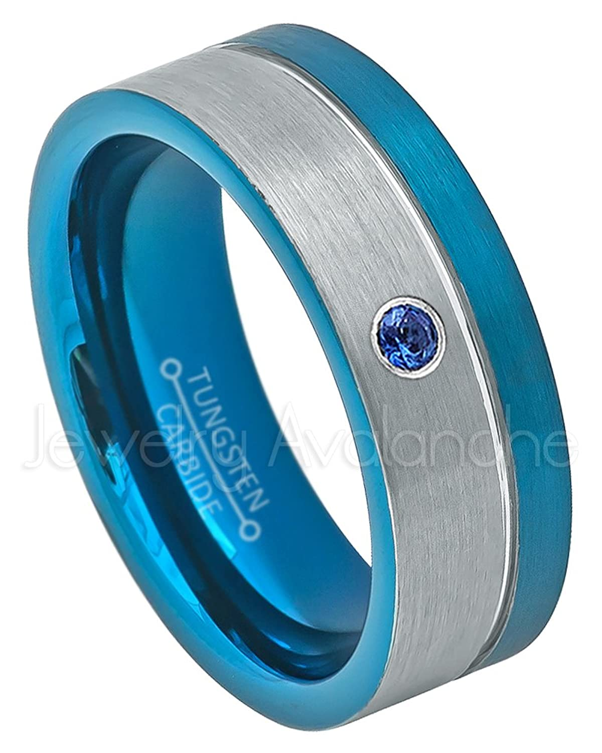 8mm Blue Tungsten Ring, Comfort Fit 2-Tone Pipe Cut Tungsten Wedding Band - 0.07ct Blue Sapphire Solitaire Ring - September Birthstone Ring
