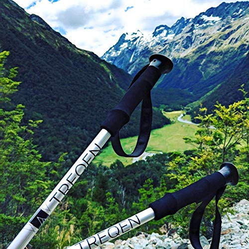 Treqen Ultralight Collapsible Shock Absorbent Nordic Walking Trekking Hiking Poles with Strong 7075 Aluminum, Quick Flip Locks, and Accessories for Any Backpacking, Outdoor, or Urban Hiking Adventure