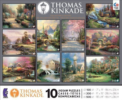 10 in 1, 100/300/500 Pieces Thomas Kinkade Puzzle by Ceaco
