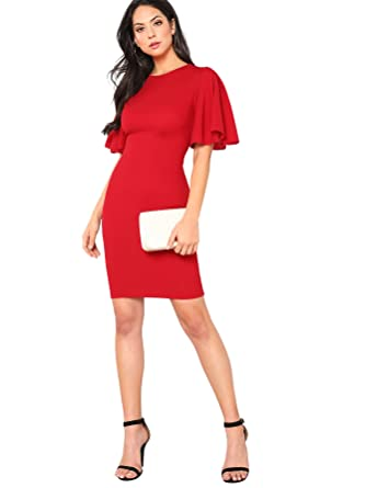 5c4fa78de8057 Floerns Women's Ruffle Sleeve Knee Length Bodycon Dress at Amazon Women's  Clothing store: