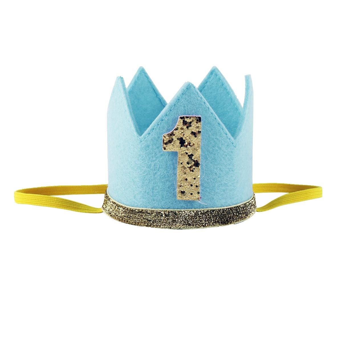 Freebily Baby Party Crown Shiny 1st Birthday Cake Hat Party Decoration Blue Medium