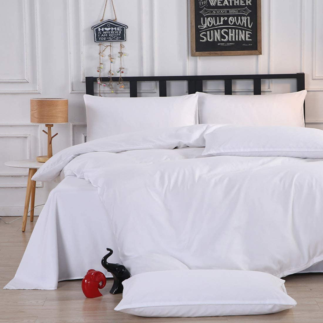 EDILLY 3 Piece Duvet Cover Set Queen Size, Washed Cotton Duvet Cover White,Ultra Soft and Easy Care,Simple Style Bedding Set with Zipper