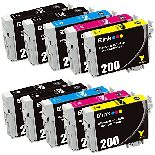 E-Z Ink (TM) Remanufactured Ink Cartridge Replacement for Epson 200 T200 T200120 (4 Black, 2 Cyan, 2 Magenta, 2 Yellow) 10 PACK for Epson XP-200 WF-2540 XP-300 WF-2530 XP-410 WF-2520 XP-400 XP-310