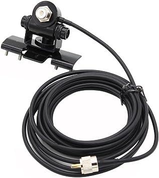 SODIAL Soporte RB-400 Antena de Coche Monte + 5M PL259 Conector Extiende Cable de alimentador de Cable para Radio movil TH-9800 BJ-218 KT8900