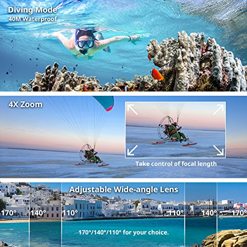 Victure Camera 20MP WiFi Underwater Camera Diving 40 Sport Rechargeable Accessories Biking Surfing