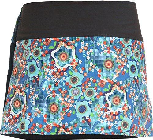Minifalda en colores de moda con botones automáticos azul oscuro