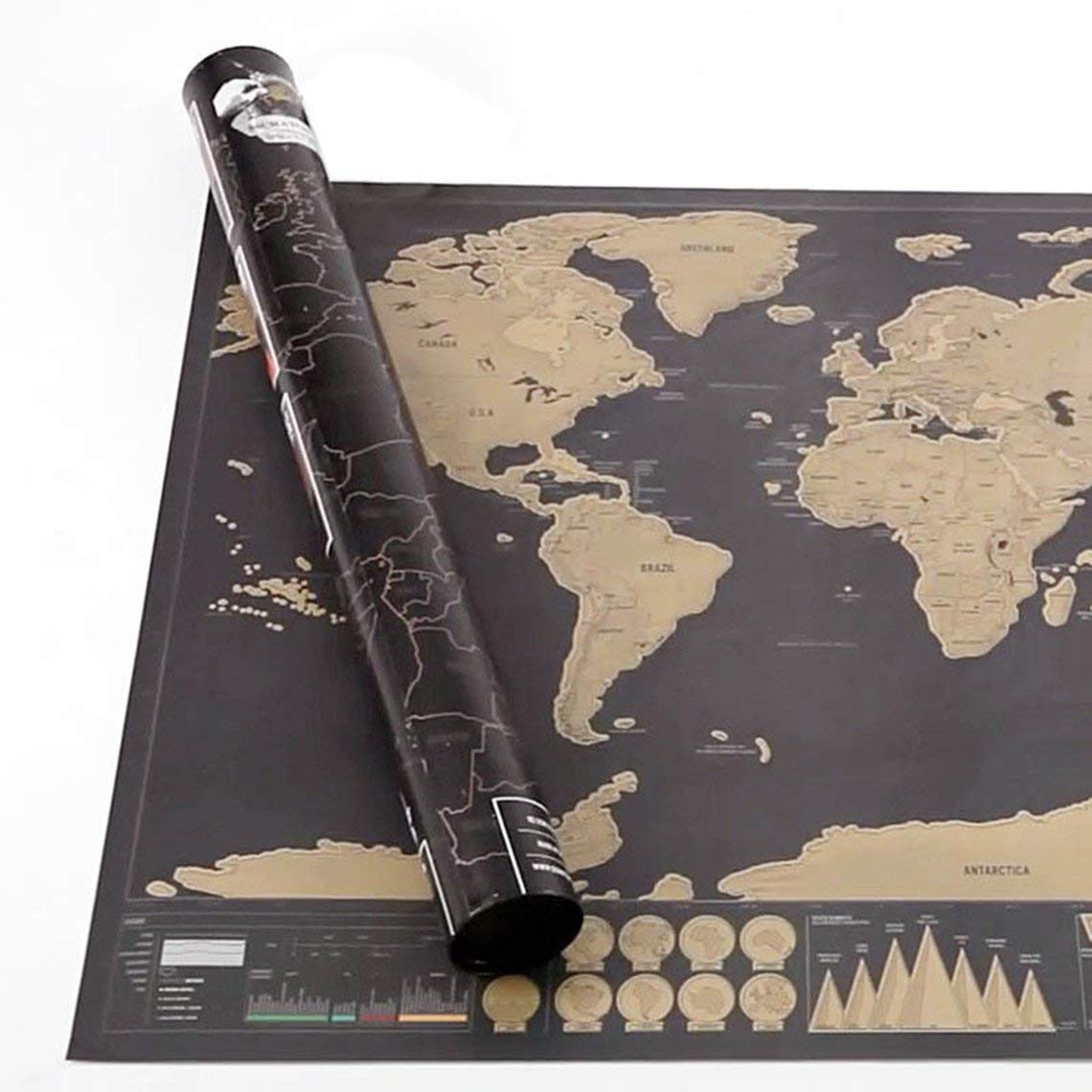 Zinniaya Gold Scratch Map Scratch Map Size Black Gold Black Luxury Edition World Map Perfect For Travelers Map Foil Coating