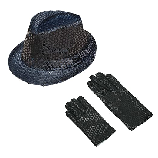 Amazon.com  ZTL Sparkly Sequin Fedora Hat   Gloves Costume Accessories Set  for Adults   Kids  Clothing a1643d4982a