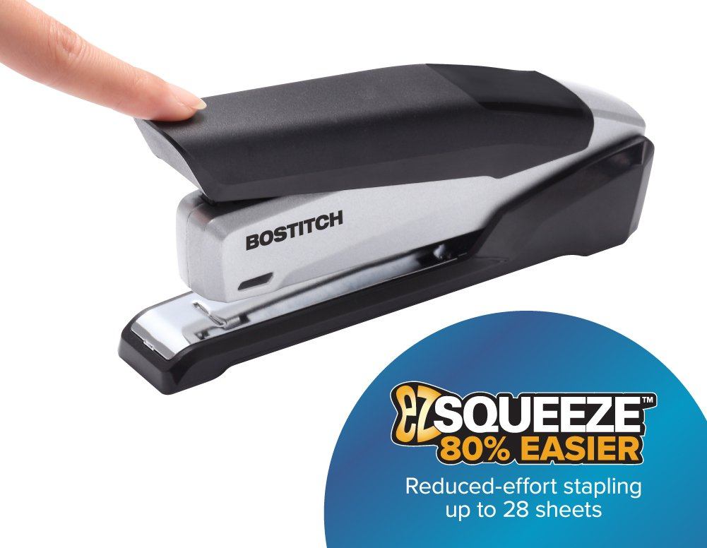 Bostitch Office Metal Executive Stapler - 3 in 1 Stapler - One Finger, No Effort, Spring Powered Stapler, Black/Gray (INP28)