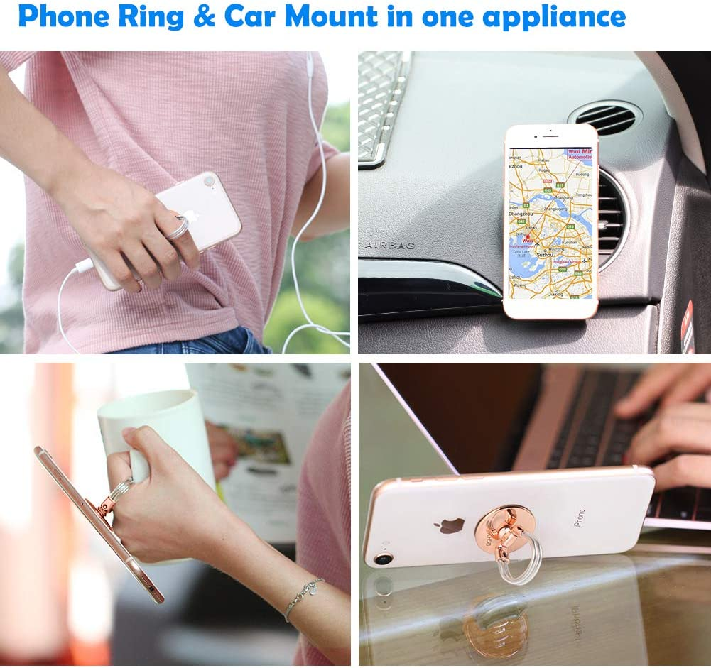 AirFly Phone Ring Holder Stand Black Matte 2 in 1 Universal Air Vent Car Phone Mount and Phone Finger Grip Ring with Strong Sticky Gel Pad Compatible with Smartphones