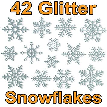 Glitter Snowflake Window Clings By Articlings Quick  Simple - Snowflake window stickers amazon