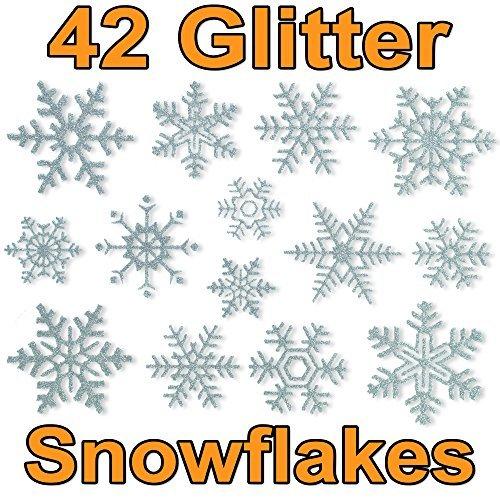 Articlings Fensteraufkleber im Schneeflocken-Design, glitzernd, PVC, klebstofffrei