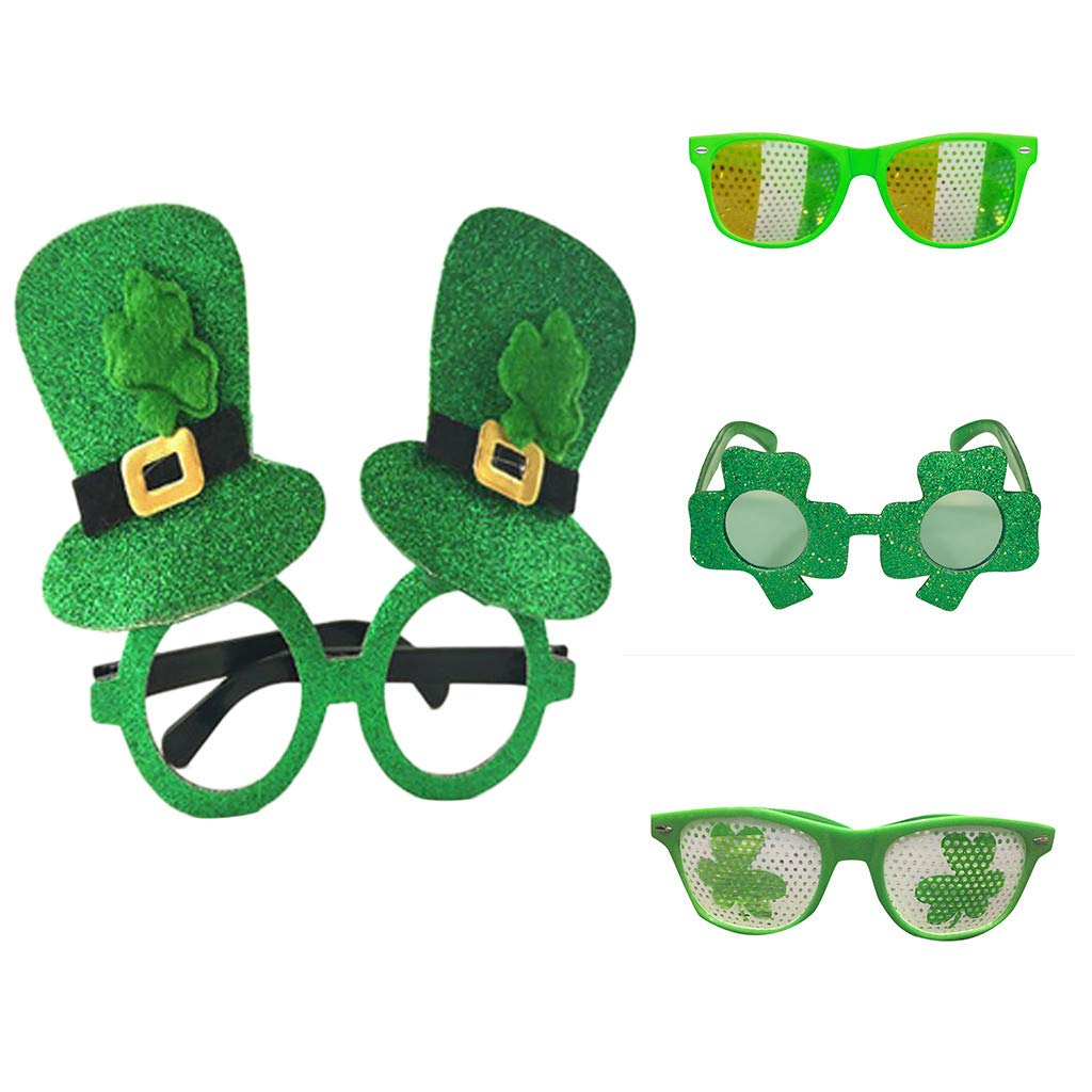 Patricks Day Green Irish Adult Festival Funny Shamrock Green Hat Glasses YUTAO St