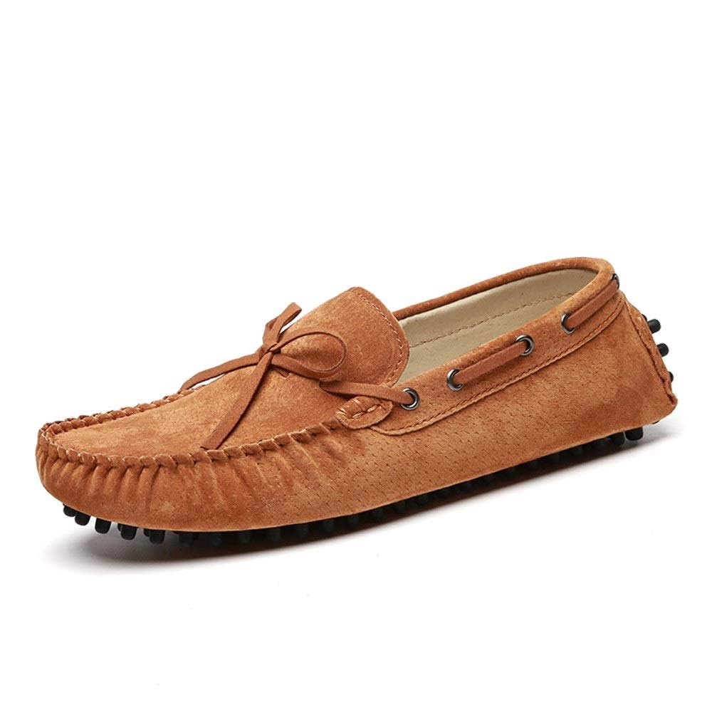 Fashion Driving Loafer for Men Boat Moccasins Slip On Style Pigskin Leather Handtailor Fashion Bowknot Men's Boots (color   Brown, Size   7.5 UK)