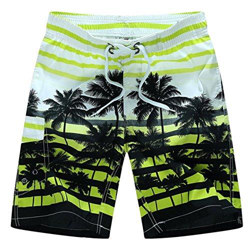 Aivtalk New Stylish Men's Hot Striped Beach Shorts Boardshorts Casual Swimming Trunks Yellow M