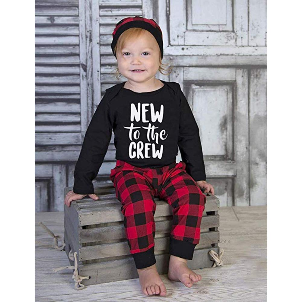 BOBORA Baby Girls Boys New to The Crew Romper Romper with Pants Hat Outfits