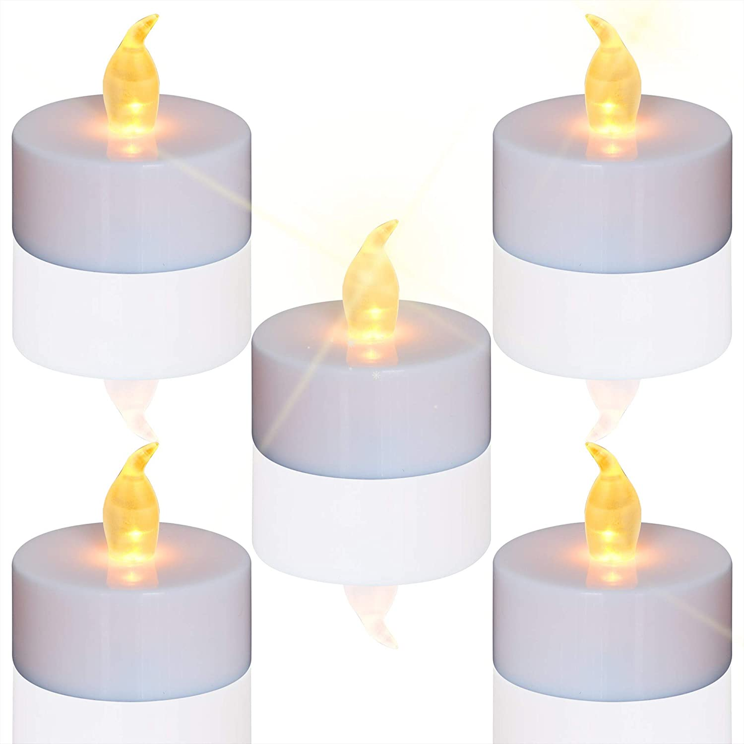 Tea Lights, 24pcs Flameless LED Tea Lights Candles, Flickering Warm Yellow, 100 Hours Battery-Powered Tea Light, Ideal Party, Wedding, Birthday, Gifts Home Decoration