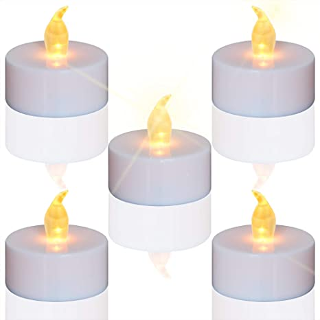 new arrival 69571 fbb1e Tea Lights, 24pcs Flameless LED Tea Lights Candles, Flickering Warm Yellow,  100 Hours Battery-Powered Tea Light, Ideal Party, Wedding, Birthday, Gifts  ...