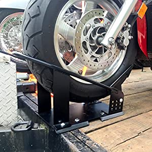 Multi Position Motorcycle Front Wheel Tire Chock Trailer Mount Stop Pivot Cradle Bike Stand Adjustable Removable Truck Bed