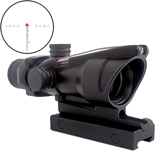 CRUSHUNT 4x32 Scope Red Chevron Glass Etched Reticle Real Fiber Optics Optical Scope
