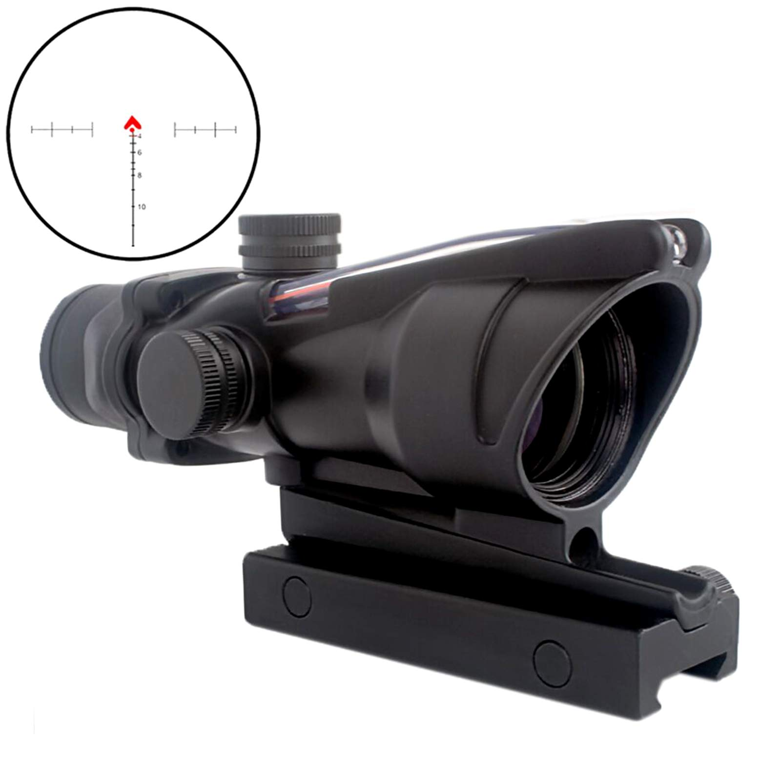 CRUSHUNT 4x32 Scope Hunting RifleScopes Red Chevron Glass Etched Reticle Real Fiber Optics Tactical Optical Sights Scope by CRUSHUNT