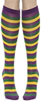 Mardi Gras Striped Socks (Purple/Green/Yellow) Adult Accessory