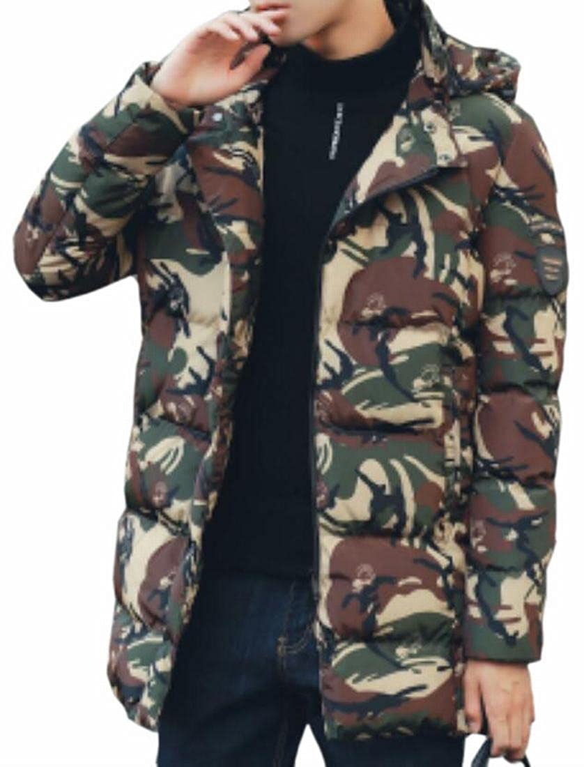 HTOOHTOOH Mens Thicken Hooded Zip Up Camouflage Printed Winter Down Jackets