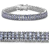 12.40 Carat Genuine Tanzanite Silver Bracelet