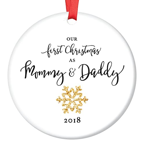 mommy daddy ornament 2018 new mother father snowflake porcelain ornament 1st christmas - Dad Christmas Ornament