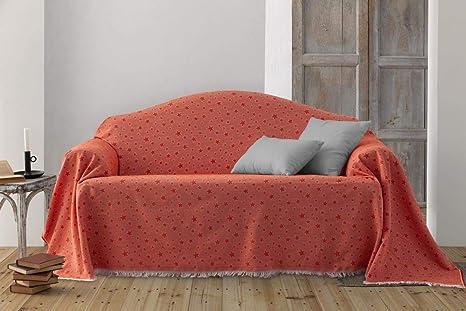 HIPERMANTA Colcha Foulard Multiusos Jacquard Modelo Estrellas para sofá y para Cama, Algodón-Poliéster, 2 plazas. Naranja.