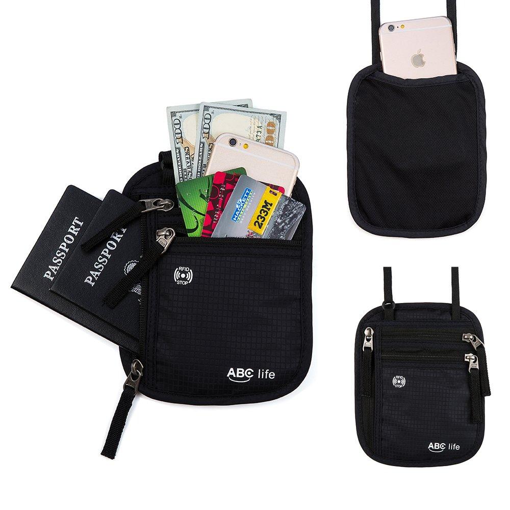 RFID Passport Holder Neck Travel Passport Wallet Neck Pouch For Women and Men
