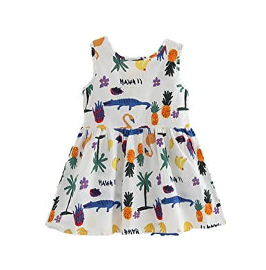 0480c1cbc5e Little Hand Kids Girls Causal Playwear Dress Hawaiian Style Sleeveless Bow  Tie Sundress 2T 3T